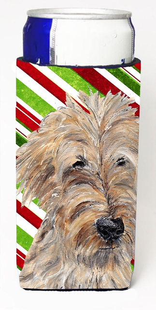 Carolines Treasures SC9619MUK Goldendoodle Candy Cane Christmas Michelob Ultra bottle sleeves For Slim Cans - 12 oz.