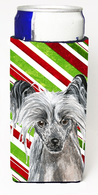 Carolines Treasures SC9620MUK Chinese Crested Candy Cane Christmas Michelob Ultra bottle sleeves For Slim Cans - 12 oz.