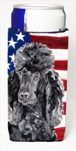 Carolines Treasures SC9626MUK Black Standard Poodle With American Flag USA Michelob Ultra bottle sleeves For Slim Cans - 12 Oz.