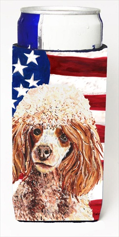 Carolines Treasures SC9627MUK Red Miniature Poodle With American Flag USA Michelob Ultra bottle sleeves For Slim Cans - 12 Oz.