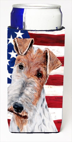 Carolines Treasures SC9628MUK Wire Fox Terrier With American Flag USA Michelob Ultra bottle sleeves For Slim Cans - 12 Oz.