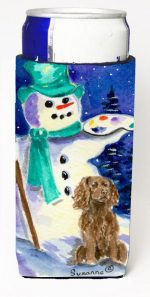 Carolines Treasures SS1001MUK Artist Snowman With Boykin Spaniel Michelob Ultra bottle sleeves For Slim Cans - 12 oz.