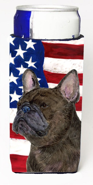 Carolines Treasures SS4003MUK Usa American Flag With French Bulldog Michelob Ultra s For Slim Cans - 12 oz.