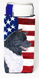 Carolines Treasures SS4005MUK Usa American Flag With Akita Michelob Ultra s For Slim Cans - 12 oz.