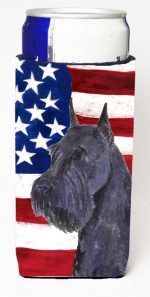 Carolines Treasures SS4007MUK Usa American Flag With Schnauzer Michelob Ultra s For Slim Cans - 12 oz.