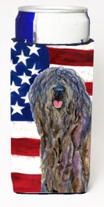 Carolines Treasures SS4008MUK Usa American Flag With Bergamasco Sheepdog Michelob Ultra s For Slim Cans - 12 oz.