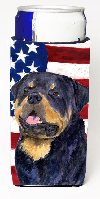 Carolines Treasures SS4009MUK Usa American Flag With Rottweiler Michelob Ultra s For Slim Cans - 12 oz.