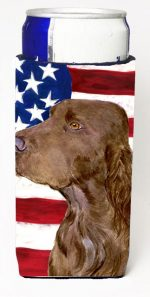 Carolines Treasures SS4010MUK Usa American Flag With Field Spaniel Michelob Ultra s For Slim Cans - 12 oz.