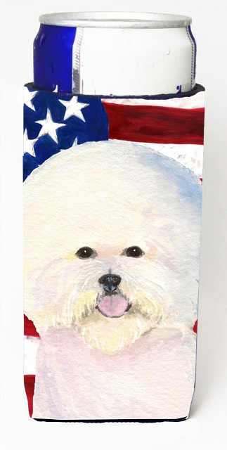 Carolines Treasures SS4011MUK Usa American Flag With Bichon Frise Michelob Ultra s For Slim Cans - 12 oz.