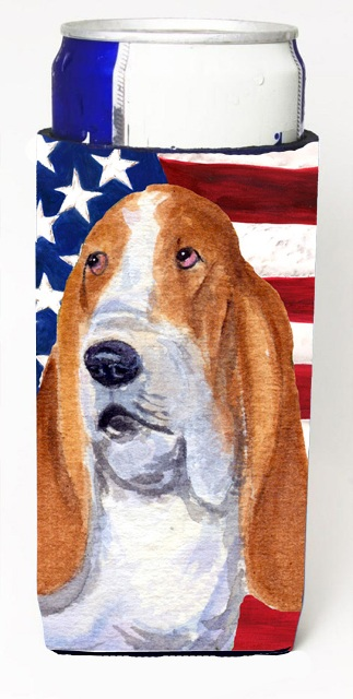 Carolines Treasures SS4013MUK Usa American Flag With Basset Hound Michelob Ultra s For Slim Cans - 12 oz.