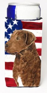 Carolines Treasures SS4016MUK Usa American Flag With Curly Coated Retriever Michelob Ultra s For Slim Cans - 12 oz.