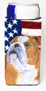 Carolines Treasures SS4017MUK Usa American Flag With Bulldog English Michelob Ultra s For Slim Cans - 12 oz.