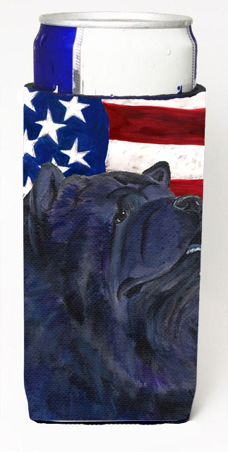 Carolines Treasures SS4028MUK Usa American Flag With Chow Chow Michelob Ultra s For Slim Cans - 12 oz.