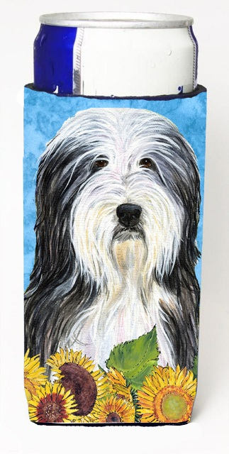 Carolines Treasures SS4130MUK Bearded Collie In Summer Flowers Michelob Ultra bottle sleeves For Slim Cans - 12 oz.
