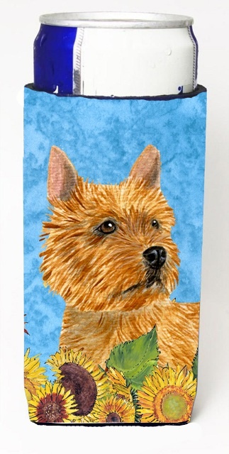 Carolines Treasures SS4132MUK Norwich Terrier In Summer Flowers Michelob Ultra bottle sleeves For Slim Cans - 12 oz.