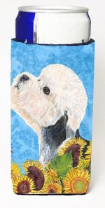 Carolines Treasures SS4136MUK Dandie Dinmont Terrier In Summer Flowers Michelob Ultra bottle sleeves For Slim Cans - 12 oz.