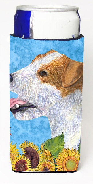 Carolines Treasures SS4137MUK Jack Russell Terrier In Summer Flowers Michelob Ultra bottle sleeves For Slim Cans - 12 oz.