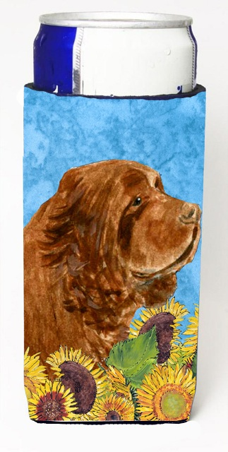 Carolines Treasures SS4143MUK Sussex Spaniel In Summer Flowers Michelob Ultra bottle sleeves For Slim Cans - 12 oz.