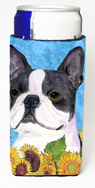 Carolines Treasures SS4149MUK Boston Terrier In Summer Flowers Michelob Ultra bottle sleeves For Slim Cans - 12 oz.