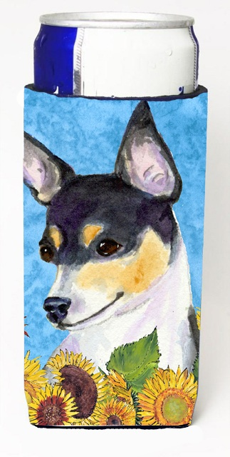 Carolines Treasures SS4151MUK Fox Terrier In Summer Flowers Michelob Ultra bottle sleeves For Slim Cans - 12 oz.