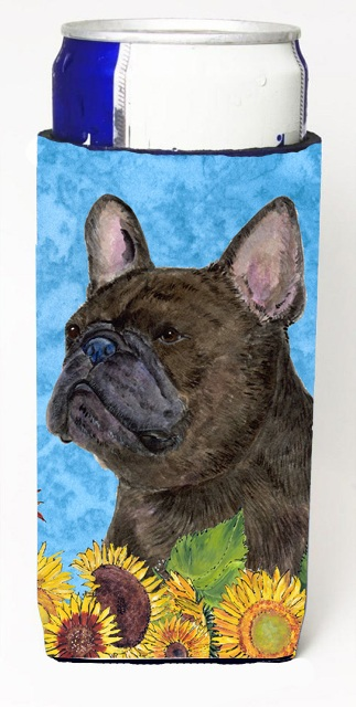 Carolines Treasures SS4152MUK French Bulldog In Summer Flowers Michelob Ultra bottle sleeves For Slim Cans - 12 oz.