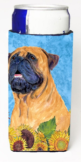 Carolines Treasures SS4153MUK Bullmastiff In Summer Flowers Michelob Ultra bottle sleeves For Slim Cans - 12 oz.
