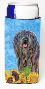 Carolines Treasures SS4157MUK Bergamasco Sheepdog In Summer Flowers Michelob Ultra bottle sleeves For Slim Cans - 12 oz.