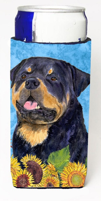 Carolines Treasures SS4158MUK Rottweiler In Summer Flowers Michelob Ultra bottle sleeves For Slim Cans - 12 oz.