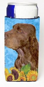 Carolines Treasures SS4159MUK Field Spaniel In Summer Flowers Michelob Ultra bottle sleeves For Slim Cans - 12 oz.