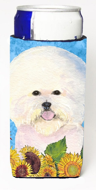 Carolines Treasures SS4160MUK Bichon Frise In Summer Flowers Michelob Ultra bottle sleeves For Slim Cans - 12 oz.