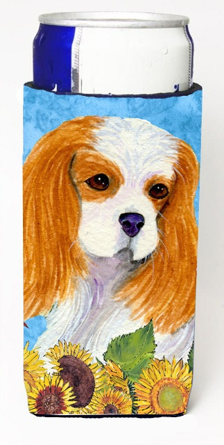 Carolines Treasures SS4161MUK Cavalier Spaniel In Summer Flowers Michelob Ultra bottle sleeves For Slim Cans - 12 oz.