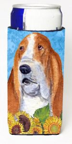 Carolines Treasures SS4162MUK Basset Hound In Summer Flowers Michelob Ultra bottle sleeves For Slim Cans - 12 oz.