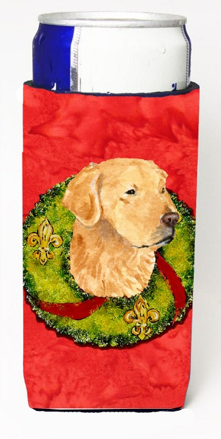 Carolines Treasures SS4166MUK Golden Retriever Christmas Wreath Michelob Ultra bottle sleeves For Slim Cans - 12 oz.