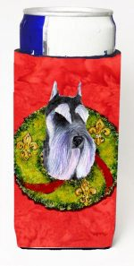 Carolines Treasures SS4167MUK Schnauzer Christmas Wreath Michelob Ultra bottle sleeves For Slim Cans - 12 oz.
