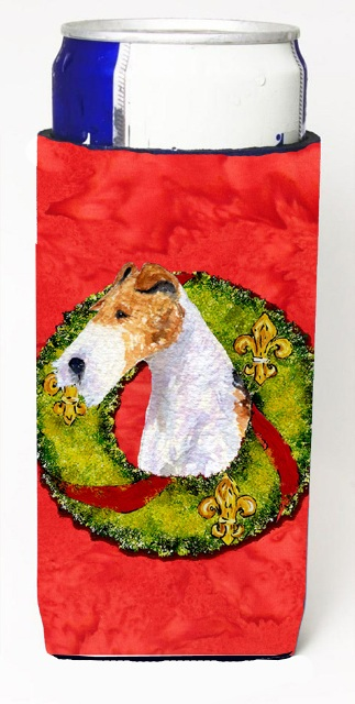 Carolines Treasures SS4168MUK Fox Terrier Christmas Wreath Michelob Ultra bottle sleeves For Slim Cans - 12 oz.