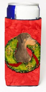 Carolines Treasures SS4169MUK Doberman Christmas Wreath Michelob Ultra bottle sleeves For Slim Cans - 12 oz.