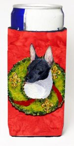 Carolines Treasures SS4170MUK Rat Terrier Christmas Wreath Michelob Ultra bottle sleeves For Slim Cans - 12 oz.