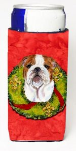 Carolines Treasures SS4174MUK Bulldog English Christmas Wreath Michelob Ultra bottle sleeves For Slim Cans - 12 oz.