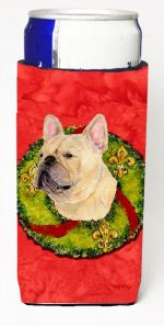 Carolines Treasures SS4175MUK French Bulldog Christmas Wreath Michelob Ultra bottle sleeves For Slim Cans - 12 oz.