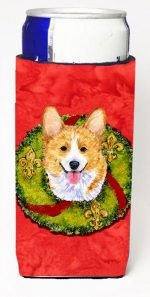 Carolines Treasures SS4176MUK Corgi Christmas Wreath Michelob Ultra bottle sleeves For Slim Cans - 12 oz.