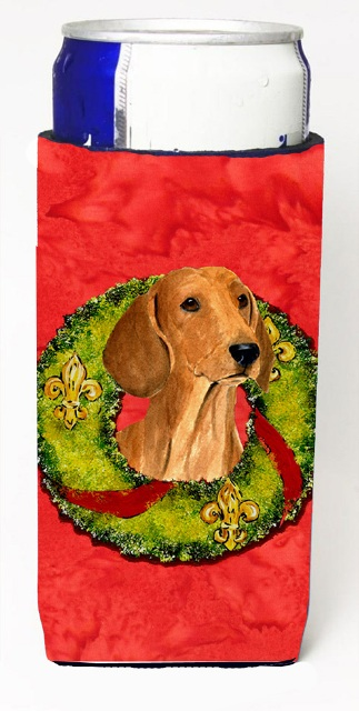 Carolines Treasures SS4177MUK Dachshund Christmas Wreath Michelob Ultra bottle sleeves For Slim Cans - 12 oz.