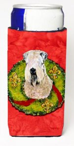 Carolines Treasures SS4178MUK Wheaten Terrier Soft Coated Christmas Wreath Michelob Ultra bottle sleeves For Slim Cans - 12 oz.