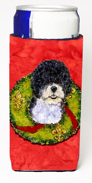 Carolines Treasures SS4180MUK Portuguese Water Dog Christmas Wreath Michelob Ultra bottle sleeves For Slim Cans - 12 oz.