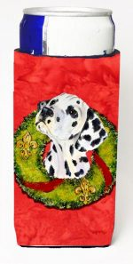 Carolines Treasures SS4182MUK Dalmatian Christmas Wreath Michelob Ultra bottle sleeves For Slim Cans - 12 oz.