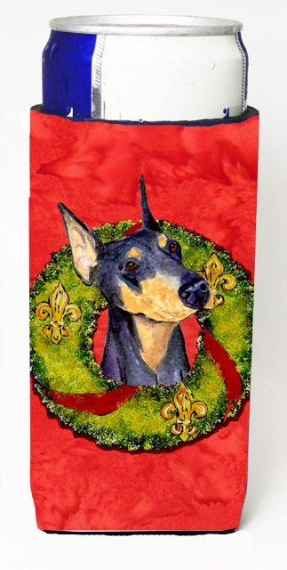 Carolines Treasures SS4184MUK Doberman Christmas Wreath Michelob Ultra bottle sleeves For Slim Cans - 12 oz.