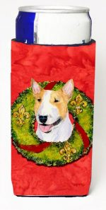 Carolines Treasures SS4185MUK Bull Terrier Christmas Wreath Michelob Ultra bottle sleeves For Slim Cans - 12 oz.