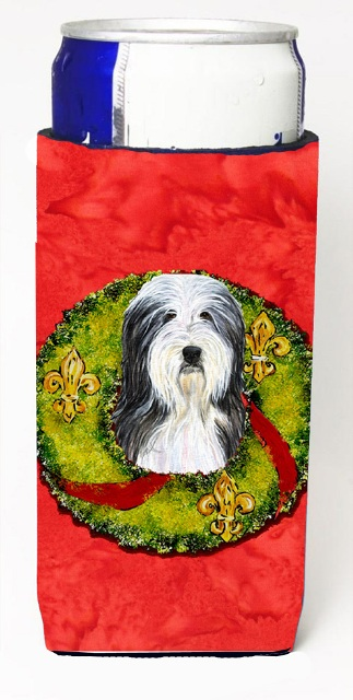 Carolines Treasures SS4186MUK Bearded Collie Christmas Wreath Michelob Ultra bottle sleeves For Slim Cans - 12 oz.