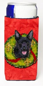 Carolines Treasures SS4187MUK Australian Kelpie Christmas Wreath Michelob Ultra bottle sleeves For Slim Cans - 12 oz.