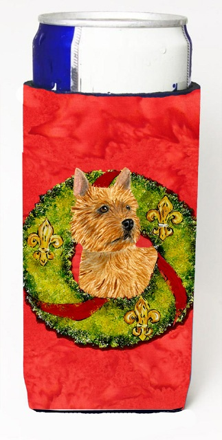 Carolines Treasures SS4188MUK Norwich Terrier Christmas Wreath Michelob Ultra bottle sleeves For Slim Cans - 12 oz.