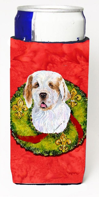 Carolines Treasures SS4189MUK Clumber Spaniel Christmas Wreath Michelob Ultra bottle sleeves For Slim Cans - 12 oz.